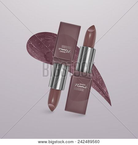 Realistic lipstick of light brown color with stroke of lipstick. 3d illustration, trendy cosmetic design for advertisement. Vector illustration stock photo