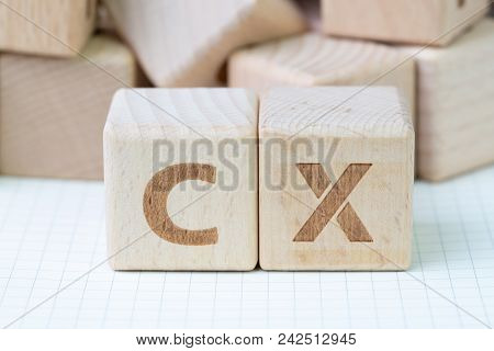 Customer Experience concept, cube wooden block with alphabet CX, important of user centric in recent world business, product and service. stock photo