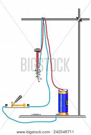 The physical experience of using an electromagnet, a simple electromagnet that consists of a nail, a coil of a copper wire. Electromagnetic action of the current. stock photo
