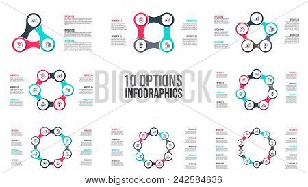 Vector circle elements for infographic. Template for cycle diagram, graph, presentation and round chart. Business concept with 3, 4, 5, 6, 7, 8, 9 and 10 options, parts, steps or processes. stock photo