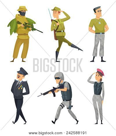 Military characters. Army soldiers male and female. Military man in uniform with ammunition. Vector illustration stock photo