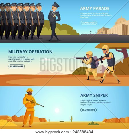 Banners set with illustrations of military characters and different specific tools. Vector army operation and parade poster, combat sniper man stock photo