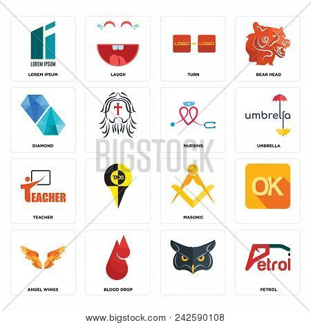Set Of 16 simple editable icons such as petrol, , blood drop, angel wings, lorem ipsum, diamond, teacher, nursing can be used for mobile, web UI stock photo