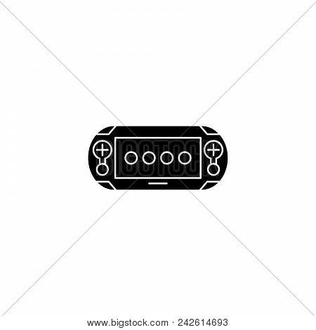 Gamepad black icon concept. Gamepad flat  vector website sign, symbol, illustration. stock photo