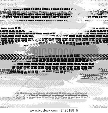 Motorcycle and motor tire tracks seamless pattern. Grunge automotive addon useful for poster, print, flyer, brochure and leaflet background design. Editable vector illustration in monochrome colors. stock photo