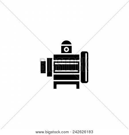 Industrial motor black icon concept. Industrial motor flat  vector website sign, symbol, illustration. stock photo