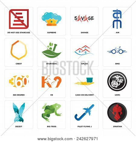 Set Of 16 Simple Editable Icons Such As Spartan Pilot Flying J