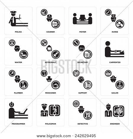 Set Of 16 simple editable icons such as Engineer, Detective, Policeman, Programmer, Sailor, Police, Waiter, Plumber, Secretary can be used for mobile, web UI stock photo