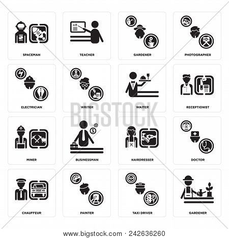 Set Of 16 simple editable icons such as Gardener, Taxi driver, Painter, Chauffeur, Doctor, Spaceman, Electrician, Miner, Waiter can be used for mobile, web UI stock photo