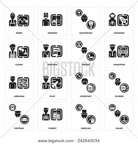 Set Of 16 simple editable icons such as Sailor, Magician, Tourist, Postman, Courier, Miner, Clown, Librarian, Waiter can be used for mobile, web UI stock photo