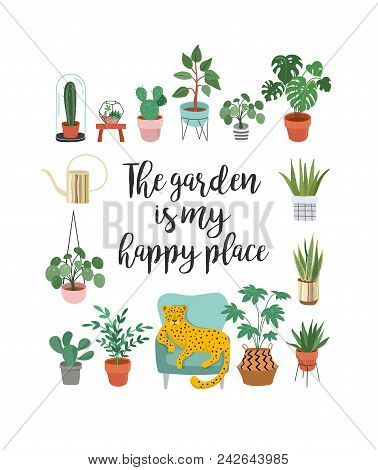 Trendy print with home decor with plants, planters, cacti and inspirational quote. Gardening concept design stock photo