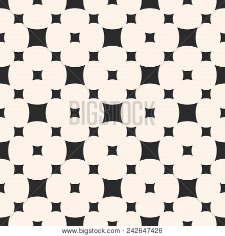 Vector seamless pattern with smooth rounded squares in staggered grid. Simple monochrome geometric texture. Abstract repeat background. Design element for decor, prints, textile, fabric, furniture stock photo