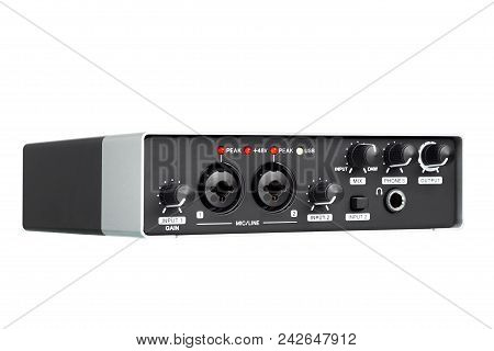 USB Audio interface for Home recording or Mixing, external sound card black and silver color. stock photo