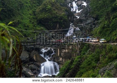 A view of the Seven Sister waterfall on the way to Lachen from Gantok, Sikkim, India stock photo