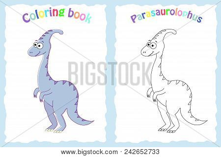 Coloring book page for preschool children with colorful  parasaurolophus and sketch to color stock photo
