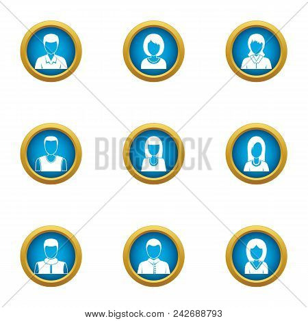 Personal skill icons set. Flat set of 9 personal skill vector icons for web isolated on white background stock photo