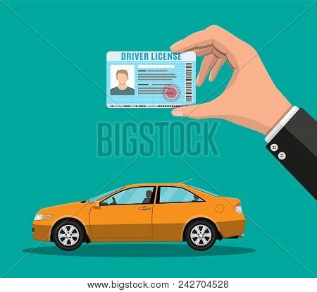 Car driver license identification card in hand with photo. Orange sedan car. Driver license vehicle identity document. Stamp, barcode, plastic id card. Vector illustration in flat style stock photo