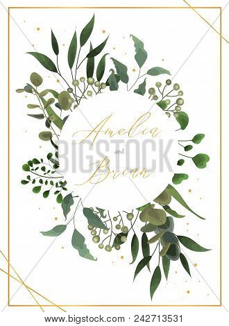Wedding floral golden invitation card save the date design with green tropical leaf herbs eucalyptus wreath and frame. Botanical elegant decorative vector template watercolor style stock photo