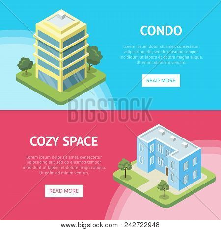Condominium real estate in town horizontal flyers. Cozy condo building quarter isometric vector illustration. City street with small residential houses, infrastructure with green decorative plants. stock photo
