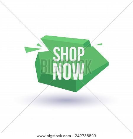 Shop now trendy geometric label isolated on white background. Special season price tag, retail marketing promotion, supermarket advertising campaign vector illustration. stock photo