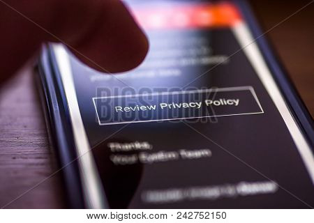 General Data Protection Regulation - Gdpr - Closeup Human Finger Pointing To Smartphone Message With
