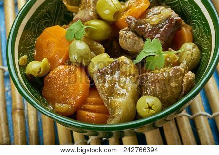 Moroccan lamb tagine with green olives , close up stock photo