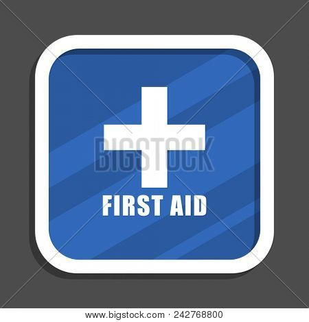 First aid blue flat design square web icon stock photo
