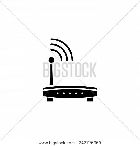 Wi-fi router black icon concept. Wi-fi router flat  vector website sign, symbol, illustration. stock photo