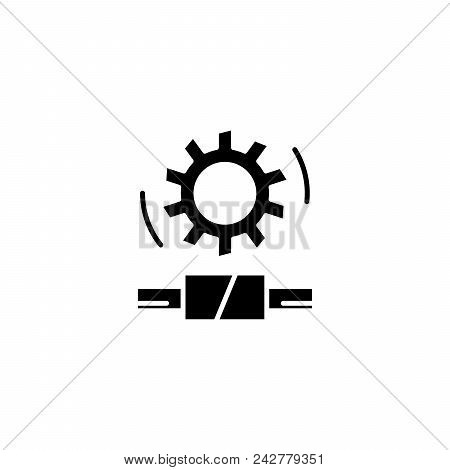 Worm gear black icon concept. Worm gear flat  vector website sign, symbol, illustration. stock photo