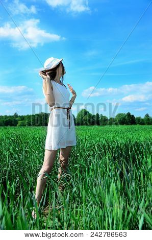 Young woman in white dress surrounded by green grain field. Female in natural scenery, green fields and blue sky. stock photo