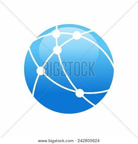 Worldwide Broadband Technology Circular Vector Symbol Graphic Logo Design stock photo