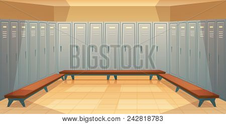 Vector cartoon background with rows of individual lockers, empty dressing room with closed metal closets. Storage space for changing clothes, keeping sport equipment, school cabinets, front view stock photo
