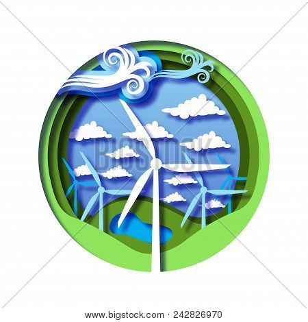 Wind energy concept with wind mills, green natural landscape with hills, lake and cloudy sky. Renewable energy sources. Modern paper cut out style vector illustration. stock photo