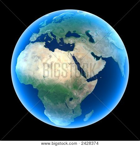 Planet Earth featuring Europe Africa and the Middle East stock photo