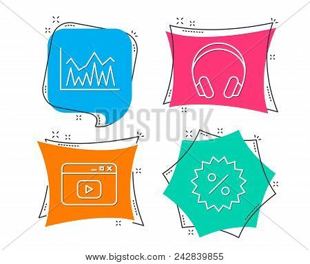 Set of Headphones, Investment and Video content icons. Discount sign. Music listening device, Economic statistics, Browser window. Special offer.  Flat geometric colored tags. Vivid banners. Vector stock photo
