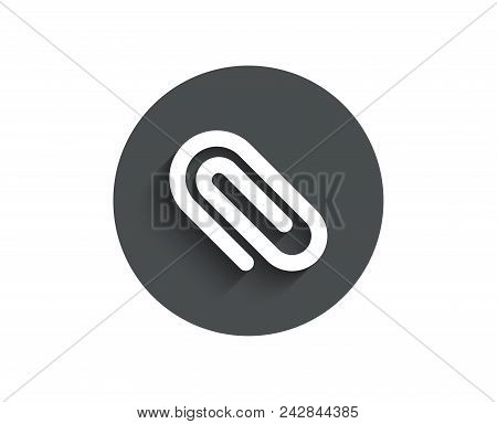 Attach simple icon. Attachment paper clip sign. Office stationery object symbol. Circle flat button with shadow. Vector stock photo