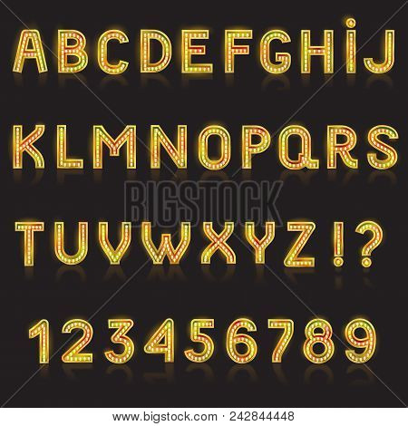 Alphabet ABC vector glowing alphabetical font with bright glitter letters alphabetic typography illustration alphabetically typeset for nightlife ad isolated on black background. stock photo