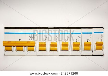 Group of automatic electrical switches on a white background. Abstract background. stock photo