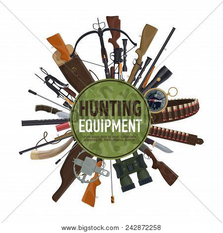 Hunting weapon and equipment poster for hunt sport design. Rifle, gun and knife, cartridge belt, compass and binocular, bullet, crossbow and hunting horn, shotgun, trap and flashlight round banner stock photo