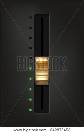 Golden metal slider and green diodes on gray background - vector illustration stock photo