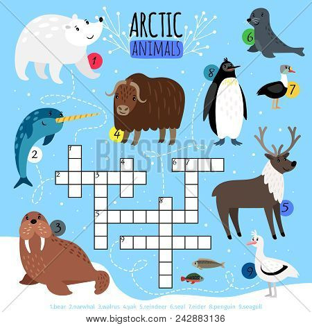 Arctic crossword puzzle. Kids words crossword searching game with arctic animals with polar bear and walrus, reindeer and penguin, vector illustration stock photo