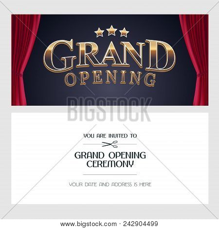 Grand Opening Vector Illustration Invitation Card With Red