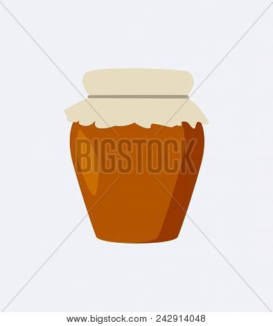Jar of brown color, closeup poster, jar made of clay and closed, traditional domestic style and decoration, vector illustration, isolated on white stock photo