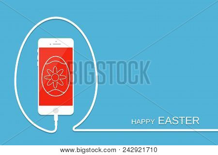 Happy Easter with phone, wire and egg. Celebration background. Surprise banner, card, template for your design. Smartphone earphone. Holiday menu stock photo