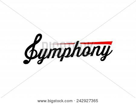 Symphony Logo, Emblem for Music company, studio, store, school, orchestra. Vector illustration in EPS10. stock photo