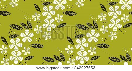 simple flat tropical flower pattern in green color. nature floral stock vector illustration.  concept seamless pattern. summer adventure background stock photo