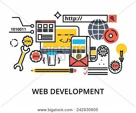 Modern editable flat line vector set of abstact web development process, responsive and graphic design stock photo
