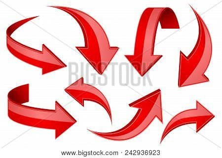 Red shiny 3d arrows. Bent curved signs. Vector illustration isolated on white background stock photo
