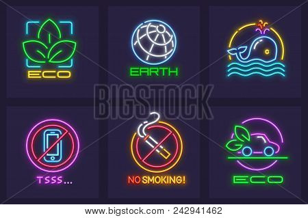 Neon ecological eco icons set. Save Earth planet concepts. Healthy lifestyle, eco-friendly transport, no smoking and keeping silence. EPS10 vector illustration. stock photo