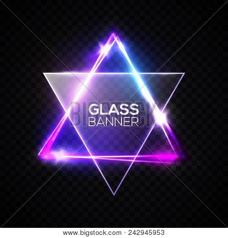 David star. Neon sign. Triangle banner with transparent glass plate. Judaism flag. Hebrew Israel glow symbol art. Electric abstract frame on transparent backdrop Religious light vector illustration. stock photo